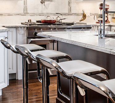 Breakfast Bar Stools - Faux Leather  - Fixed Height