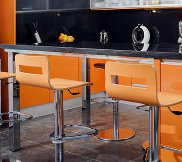 Contemporary Bar Stools - Brown  - Brushed Steel